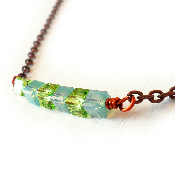 Swarovski Sparkly Cubes Necklace in Peridot Green and Opal Blue
