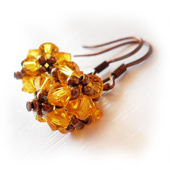 Swarovski Yellow Beads Earrings (3)