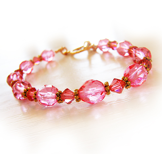 Swarovski and Glass Beads Bracelet in Candy Pink and Coral  (2)