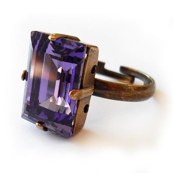 Tanzanite Purple Swarovski Ring - Emerald Cut Ring (3)