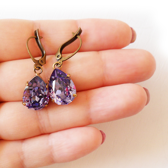 270b2ade3 Tanzanite Swarovski Crystal Earrings – Teardrop Rhinestone Earrings ...