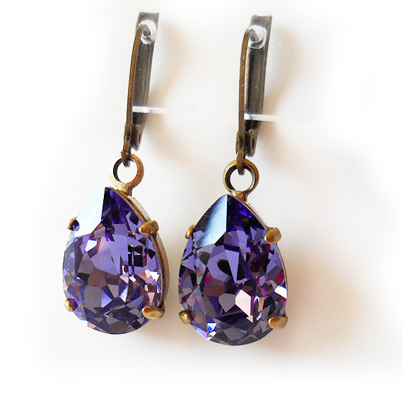 Tanzanite Swarovski Crystal Earrings - Teardrop Rhinestone Earrings (3)