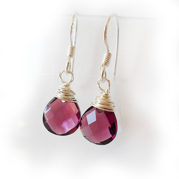 Teardrop Dangle Earrings in Amethyst Purple