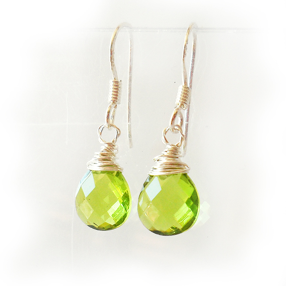 Teardrop Dangle Earrings in Olivine Green (2)
