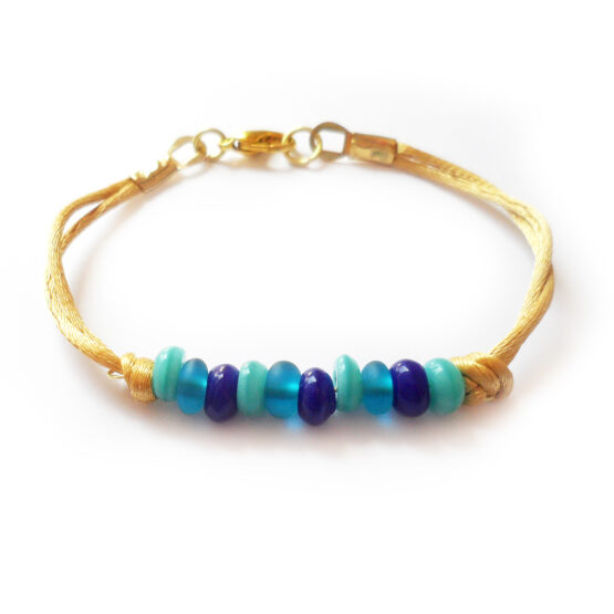 Tropea Bracelet with blue seaglass beads (2)