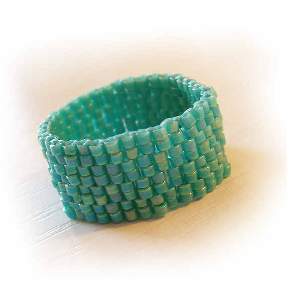 Turquoise Blue Glass Beads Ring - Unisex Wide Beadwork Ring