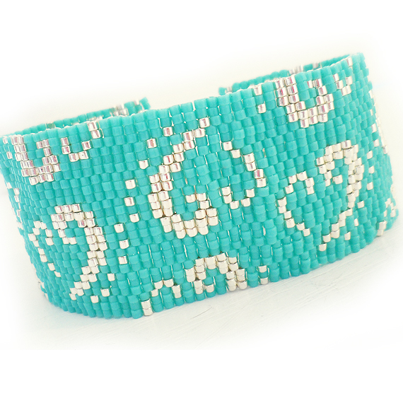 Turquoise Blue and Silver Glass Beads Bracelet - Dicope Heart Logo Cuff Bracelet  (4)