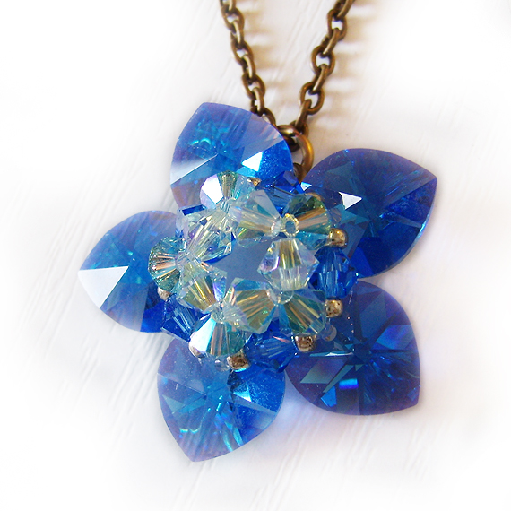 Water Lily Flower Beadwork Necklace in Shappire Blue Swarovski Beads (3)