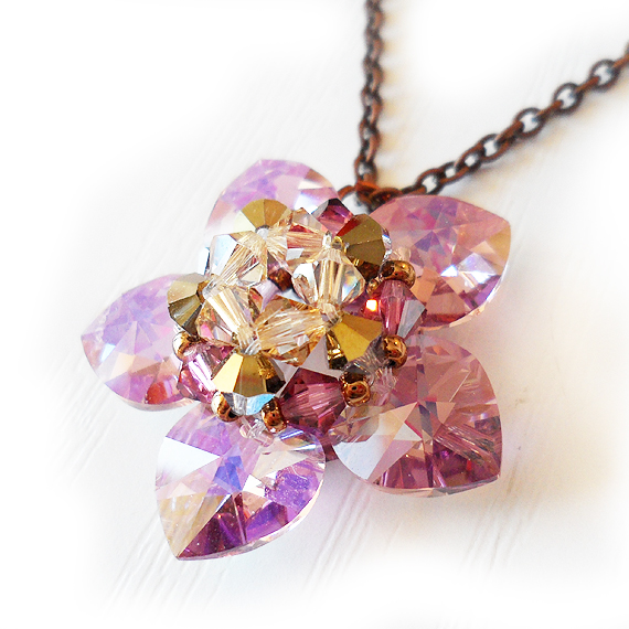 Water Lily Flower Necklace with Lilac Swarovski Crystal Beads