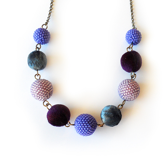 Winterland  Necklace with Purple Blue Velvet and Beaded Beads (3)