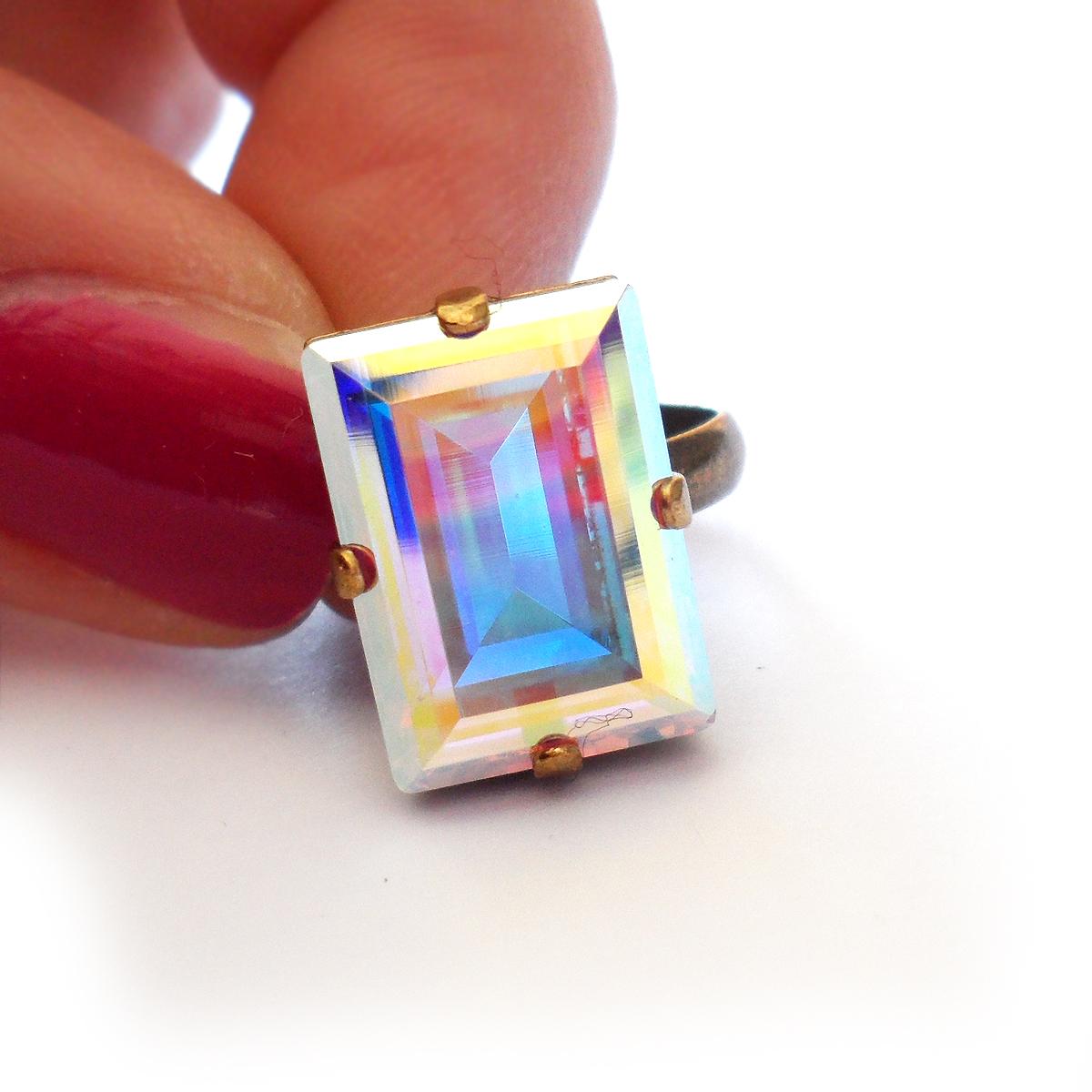 5ff5915a2034 Anillo Swarovski Rectangular Cristal Arcoíris – Dicope Bisuteria Tienda