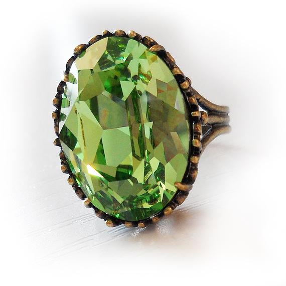 Anillo ovalado cristal swarovski verde  (4)