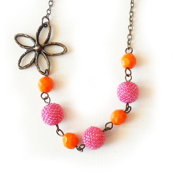 Collar Abalorios Rosa y Naranja - Collar Flor de Verano (4)