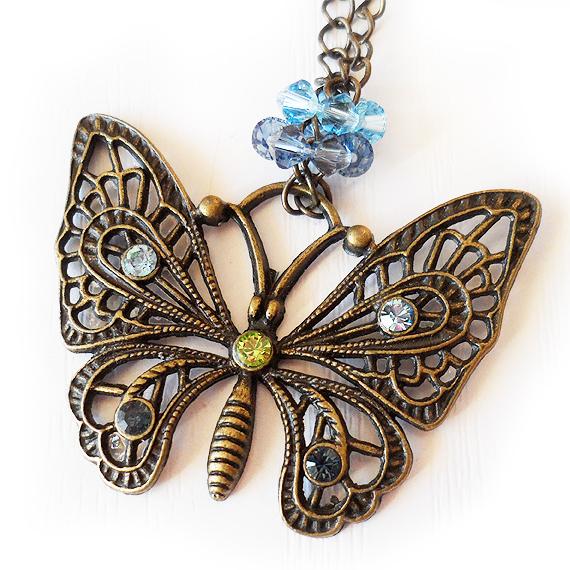 Collar Mariposa Strass Swarovski Azul