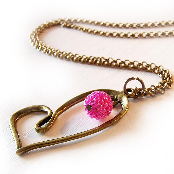 Collar corazon abalorios cristal rosa