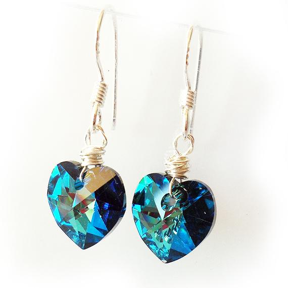 0abae7da9309 Pendientes Corazón Swarovski Azules Plata de Ley – Dicope Bisuteria ...