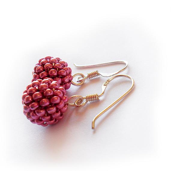 Pendientes bolitas cristal rosa metalizado (3)