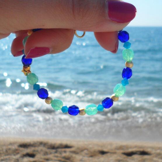 Pulsera Bora bora con abalorios de cristal azul turquesa