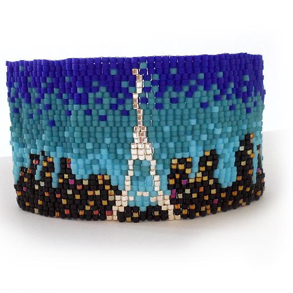 Pulsera Paris Lovers en Abalorios Azul y plata  (2)