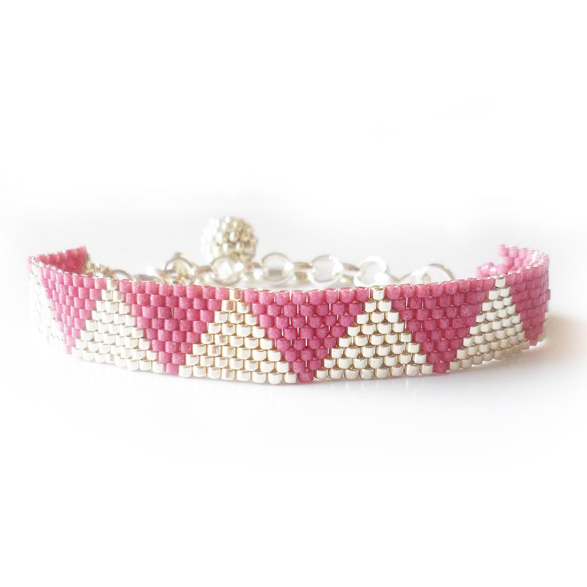 pulsera-triangulos-plata-y-rosa