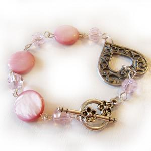 Pulsera Amor Corazón Bolitas Cristal Rosa y Madre Perla