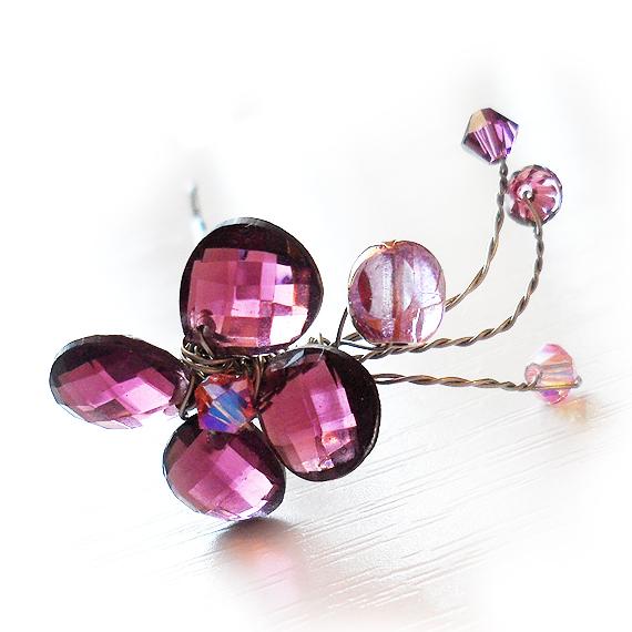 aguja pinza pelo flor cristales swarovski lila
