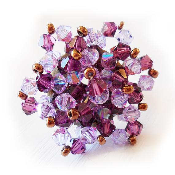 anillo flor swarovski bolitas lila y violeta (2)