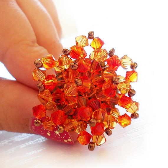 anillo flor swarovski bolitas naranja (3)