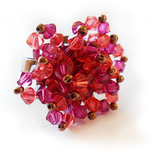 anillo flor swarovski bolitas rosa fuchsia (2)