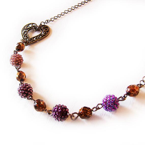 collar love me abalorios cristal lila