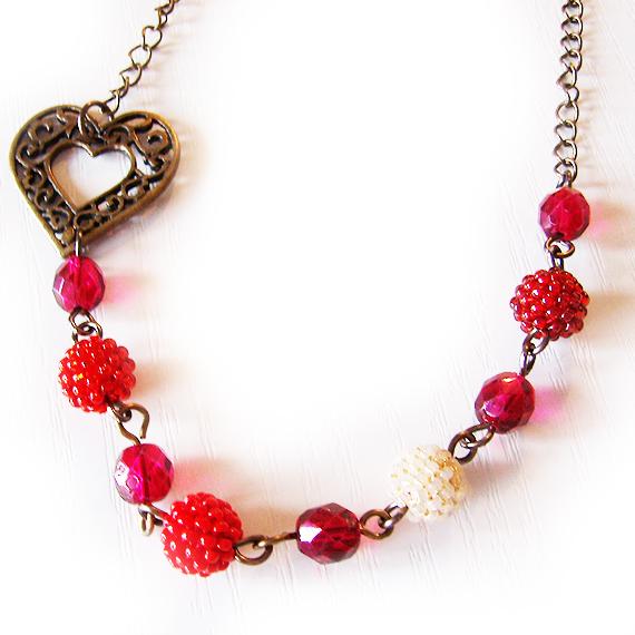 collar love me abalorios cristal  rojo