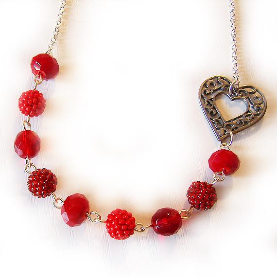 collar love me bolitas cristal ruby y rojo