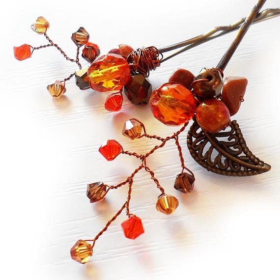 horquilla aguja pinza cristales swarovski novia naranja