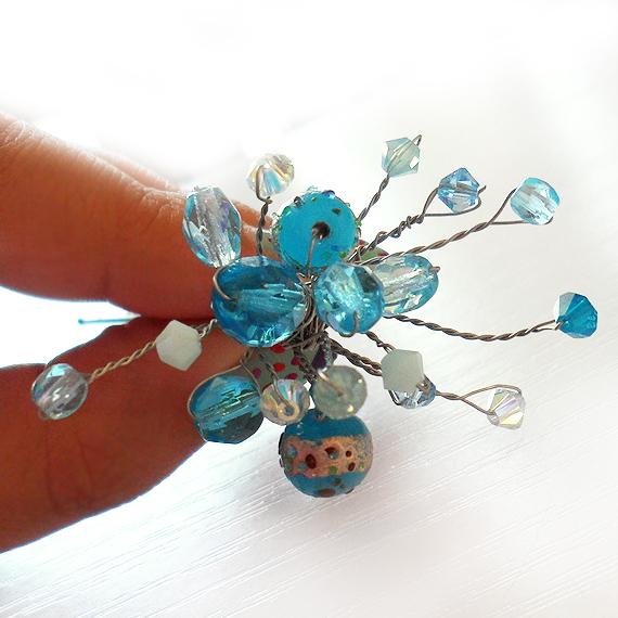 horquilla pelo cristales swarovski novia azul turquesa