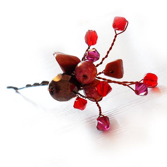 horquilla pelo cristales swarovski novia rojo ruby