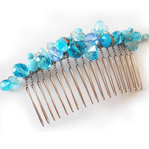 peineta novia abalorios cristal azul